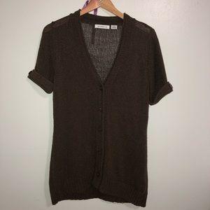 {Liz Claiborne} Woven Knit Cardigan Sweater